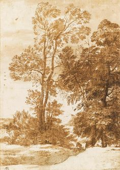 Claude Lorrain (Claude Gellée), 1600-1682, French, Study of Trees; c.1635. Pen and ink and wash on paper, 28.9 x 20.5 cm. Musée du Louvre, Paris. Classicism.