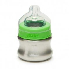 Klean Kid Kanteen Stainless Steel Baby Bottle with Slow Flow Silicone Nipple Silver -- Continue to the product at the image link. (This is an affiliate link) Baby Bottles, Drink Bottles, Brindille, Steel Water Bottle, Eco Baby, Bottle Feeding, Cool Things To Buy, Stainless Steel