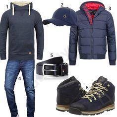 Herren-Outfit mit dunkelblauem Blend Hoodie, Calvin Klein Cap, Indicode Steppjacke, A. Salvarini Jeans, Tommy Hilfiger Ledergürtel und Timberland Boots.