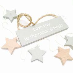 Декоративная табличка из дерева LOVE YOU TO THE MOON — Lenny Crafts @ LMBD