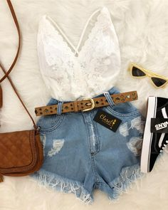 for more stunning styles💖 Teen Fashion Outfits, Outfits For Teens, Summer Outfits, Girl Outfits, Womens Fashion, Women's Summer Fashion, Look Fashion, Daily Fashion, Cute Casual Outfits