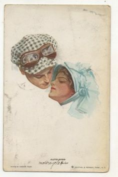 """Auto Kiss"" Antique Automobile Driver, Goggles Vintage Car Postcard 
