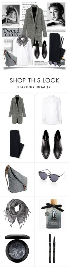 """Tweed coats"" by lenochca ❤ liked on Polyvore featuring Alexander Wang, Lands' End, Love Quotes Scarves, Torrid, MAC Cosmetics and tweedcoats"