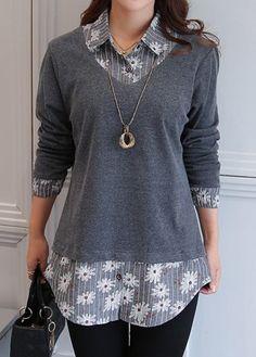 Women's Grey Fashion Tops Turndown Collar Long Sleeve Faux Two Piece Blouse Trend Fashion, Diy Fashion, Ideias Fashion, Fashion Outfits, Womens Fashion, Cheap Fashion, Ladies Fashion, Fashion Tips, Trendy Tops For Women