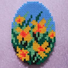 Easter egg hama perler beads by ladykragh Pearler Bead Patterns, Bead Loom Patterns, Perler Patterns, Pearler Beads, Fuse Beads, Craft Patterns, Beading Patterns, Pearl Crafts, Iron Beads