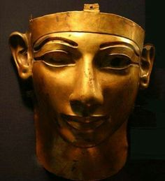 Gold funerary mask of Pharaoh Shoshenq II,reign 887-885 B.C. of the 22nd Dynasty.