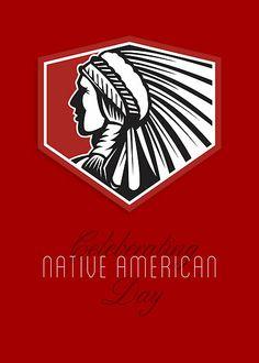Poster Native American Day Celebration Retro Card by patrimonio
