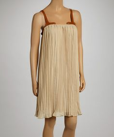 Look what I found on #zulily! Taupe Accordion Sleeveless Dress - Women by Madison Paige #zulilyfinds