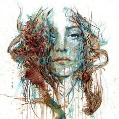 Paintings Created by Carne Griffiths in ink and tea on paper.