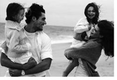 David Gandy with sister and nieces... There he goes melting my heart again!