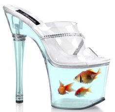High heels with goldfish?  Have mercy.
