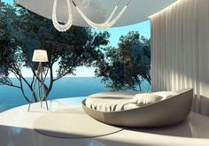 Fotobehang atmospheric contemporary bedroom, round bed and outdoor view - bed Palaces, Window Bed, Window Seats, Honeymoon Spots, Round Beds, Natural Bedding, Cool Curtains, Belle Villa, Australia Living