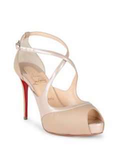 3301ba2a3f3 CHRISTIAN LOUBOUTIN Mirabelle 100 Patent Leather Crisscross Peep Toe Pumps.   christianlouboutin  shoes  . Christian Louboutin Red BottomsLouboutin High  ...