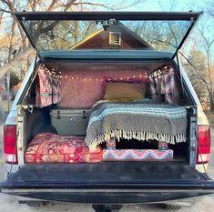 Truck camper shell bed & curtains - Car World Auto Camping, Truck Bed Camping, Van Camping, Camping Set, Camping Hammock, Kayak Camping, Winter Camping, Kangoo Camper, Suv Camper