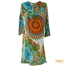 Auch lang ist sexy. Bunte SUNSA Tunika aus Baumwolle für den extra Look.