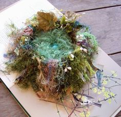 2 Bags Full -  November Nesting: contains over 200 different yarns in a variety of textures.  Additionally, they contain bits of paper,lace,vintage ribbons, glass leaves, and string.