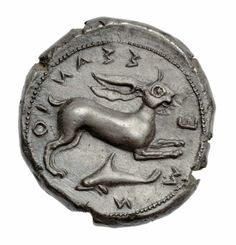 Tetradrachm of Messana with biga of mules - Greek Period Classical Period | 430–396 B.C. | Reverse: Hare leaping right; below, dolphin to right, horizontally; border of dots. Inscription in Greek around.
