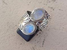 Rainbow Moonstone ring moonstone silver by SterlingSilverVenue