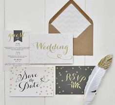 We love this stationery set because it's modern. It boasts lots of 2017 wedding trends with the glitter and gold colours and the fonts are contemporary too. The addition of sparkle and glitz is something which always goes down well on paper and will instantly up-market your stationery. If we received this style of wedding invitation, there's no way we wouldn't RSVP 'yes' instantly.