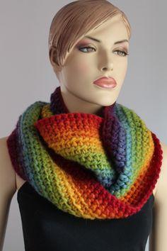 Long Crochet Rainbow Chunky  Scarf -  Cowl Scarf - Neck Warmer - Infinity Scarf. $79.00, via Etsy.