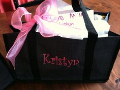 Closer view: Teacher presents- 31Gifts carry a tote monogrammed bags filled with chocolates. :)