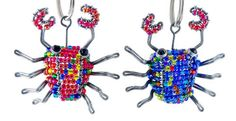 Beaded Crab Keychain or Zipper Pull  African by WireBeadedAnimals