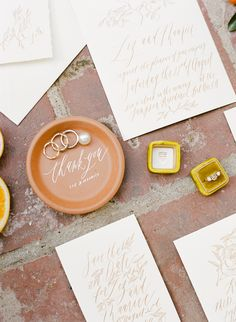 California Citrus Wedding Inspiration: Design/Styling/Planning: Twofold LA - Paper Goods/Calligraphy: Written Word Calligraphy - Engagement Ring: Trumpet and Horn - Pearl and Wave Ring Jewelry: Deanna Hamro - Photography: Rebecca Yale  As seen in Flutter Mag Issue 7 August, 2015