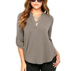 Blusas Femininas New Women V Neck Solid Chiffon Blouse Tops Sexy Fashion OL Long Sleeve Shirt Blouses 4 Colors Size M-XXL Hot
