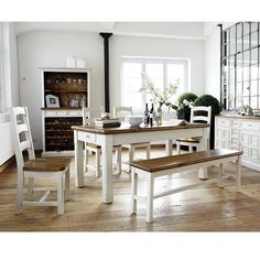 Boddem Country decor Dining Table In Pine Wood With 4 Chairs And Bench #Furniture #DiningRoom #DiningChair #DiningTable