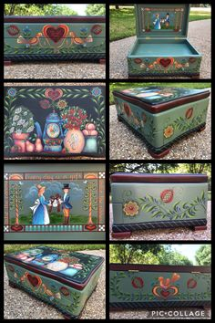 Rosemary West, Stationary Box, Fork Art, Box Patterns, Artist Painting, Painted Furniture, Folk, Decorative Boxes, Basket