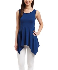 Love this Navy Fit & Flare Sidetail Tank on #zulily! #zulilyfinds