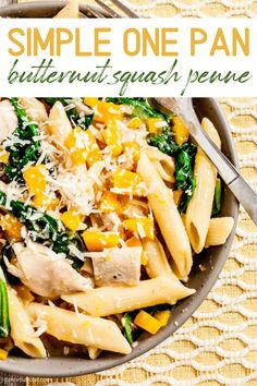 Enjoy the bounty of fall squash, with this One-Pan Butternut Squash Penne. It's light, healthy, and deliciously satisfying. Butternut squash adds beautiful color, texture, nutrition, and flavor in this Butternut Squash Penne for dinner. #butternutsquash #fallrecipe #butternutsquashrecipes #butternutsquashpenne #onepanmeal #onepan #dinnerrecipes Yummy Pasta Recipes, Easy Dinner Recipes, Real Food Recipes, Dinner Ideas, Savoury Dishes, Food Dishes, Main Dishes, Cold Pasta Dishes, Curried Butternut Squash Soup