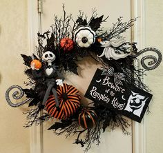 Jack Skellington Halloween Wreath, Nightmare Before Christmas,Halloween Wreath…