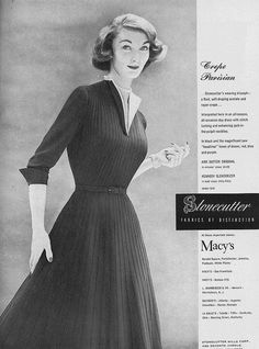 A beautiful crepe dress for fall, 1952. #vintage #fashion #1950s