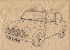 Classic Mini Cooper -Digital Image Sheet -SooArt Original Illustrate Drawing  A4 Print on Pillows, t-shirts, scrapbook, lampshades  ETC.v