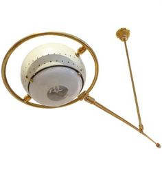 Angelo Lelli; Brass and Enameled Metal Counterbalance Ceiling Light, for Arredoluce, c1960.
