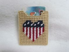 Handmade Plastic Canvas Gift Card or Money Holder:  Patriotic Heart