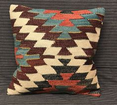 Vintage Turkish Kilim Pillow. Handmade Pillow. Traditional Pillow. Turkish Rug Pillow 40 x 40  Pefect Choice For Home Decor. Turkish Bedding by TurkishBohoChic on Etsy