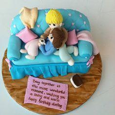 Image Credits: Tea Room by Bel Jee Anniversary Cake Designs, Wedding Anniversary Cakes, Baby Bottom Cake, Diaper Bag Cake, Bed Cake, Biscuit, Gravity Defying Cake, Family Cake, London Cake