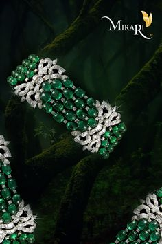 Create a statement wherever you go with this emerald and diamond bracelet from #Mirari and make others go green with envy. #bracelet #Miraribracelet #diamond #emerald