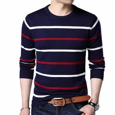 Men Winter Wool Slim fit Striped Pull Jumper Mens Wholesale Clothing e9b77524b23b