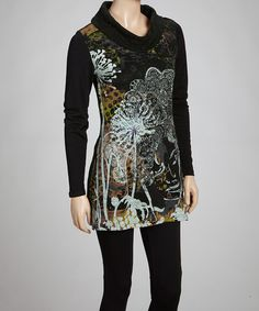 Take a look at this Black Face Tunic by Aziza on #zulily today!