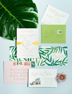 Modern Tropical Destination Wedding Invitations by Coral Pheasant