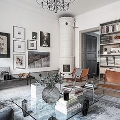 A short post about worn leather furniture in mostly monochrome interiors with a Scandi vibe, these vintage leather sofas and chairs add a touch of warmth Monochrome Interior, Gray Interior, Home Interior Design, Interior Architecture, Vintage Leather Sofa, Leather Furniture, Grey Wall Color, Gravity Home, Houses