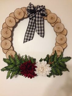 Wreath made with log slices.