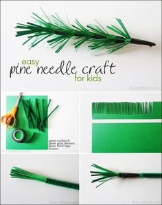 pine needle paper craft for kids:
