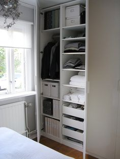 ThisIKEA Pax Wardrobe would be a great in a Guest bedroom. It can hold all the essentials you have availa ThisIKEA Pax Wardrobe would be a great in a Guest bedroom. It can hold all the essentials you have available for your guest. Ikea Pax Wardrobe, Ikea Closet, Closet Bedroom, Closet Space, Wardrobe Organisation, Closet Organization, Closet Storage, Small Bedroom Storage, Room Essentials