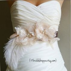Wedding Sash - MAGGIE - Blush Lace and Organza Flowers on Latte Bridal Sash with Ostrich Plume. $239.00, via Etsy.