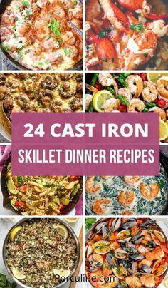 Best Cast Iron Skillet, Iron Skillet Recipes, Cast Iron Recipes, Skillet Meals, Lunch Recipes, Seafood Recipes, Dinner Recipes, Cooking Recipes, Healthy Recipes