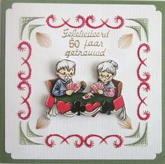 Voorbeeldkaart - 50huwelijk kaart - Categorie: 3D - Hobbyjournaal uw hobby website Sewing Cards, String Art, Advent Calendar, Birthdays, Scrapbook, Stitch, Holiday Decor, Pattern, Crafts